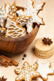 Christmas Cookies. Assortment of traditional homemade Christmas cookies including gingerbread decorated with icing royalty free stock images