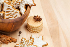 Christmas Cookies. Assortment of traditional homemade Christmas cookies with spices royalty free stock photo