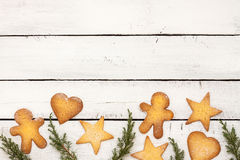 Christmas cookies background with free text space Royalty Free Stock Image