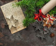 Christmas cookies. Baking ingredients, recipe book, rolling pin Stock Photos