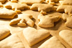 Christmas cookies baking in the oven Stock Photography