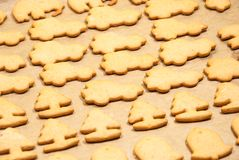 Christmas cookies baking in the oven. Christmas cookies in different shapes baking in the oven Stock Photos