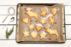 Christmas cookies on a baking tray with free text space Royalty Free Stock Photos