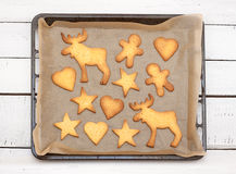Christmas cookies on a baking tray Royalty Free Stock Image