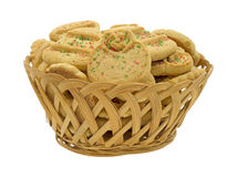 Christmas cookies in basket Stock Photos
