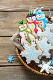 Christmas cookies in a basket Stock Photos