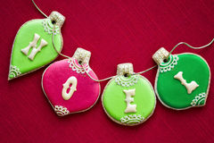 Christmas cookies. Christmas bauble cookies in red and green royalty free stock photos