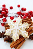 Christmas cookies. With berries and cinnamon sticks Stock Photography
