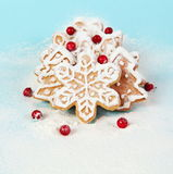 Christmas Cookies with Berries in Flour Royalty Free Stock Photos