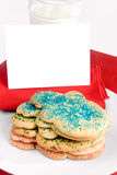 Christmas cookies and blank note Stock Photos
