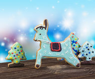 Christmas cookies. On a blue background Royalty Free Stock Photo