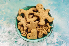 Christmas cookies in blue bowl Royalty Free Stock Image