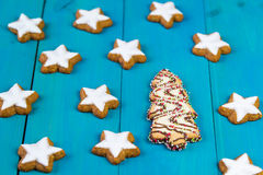 Christmas cookies on a blue wooden background. Christmas cookies in a shapes of stars and christmas tree on a blue wooden background Royalty Free Stock Photography