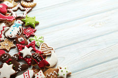 Christmas cookies. On a blue wooden table Stock Photography