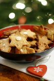 Christmas cookies in bowl royalty free stock photos