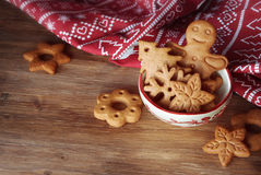 Christmas cookies in bowl Stock Images