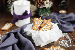 Christmas cookies in box and hot chocolate Royalty Free Stock Photo