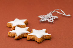 Christmas cookies on a brown background Royalty Free Stock Photos
