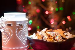 Christmas cookies in brown bowl Stock Image