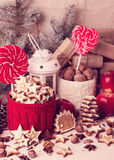 Christmas cookies and candis. Royalty Free Stock Image