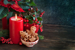 Christmas cookies and candle Royalty Free Stock Photography
