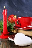 Christmas cookies and candle. Royalty Free Stock Images