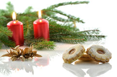 Christmas cookies and candles Royalty Free Stock Images