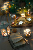 Christmas cookies, candles, lantern and Christmas vintage decora Royalty Free Stock Photo