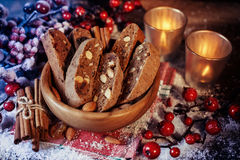 Christmas cookies and candles Royalty Free Stock Image