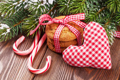 Christmas cookies, candy cane and toy heart Stock Photo