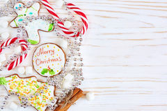 Christmas cookies and candy cane Royalty Free Stock Photography