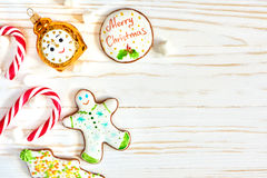 Christmas cookies and candy cane Stock Images