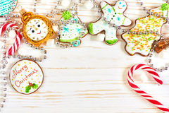 Christmas cookies and candy cane Stock Image