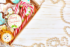 Christmas cookies and candy cane Royalty Free Stock Photos