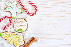 Christmas cookies and candycane Stock Photography