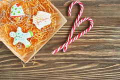 Christmas cookies and candycane Royalty Free Stock Photos