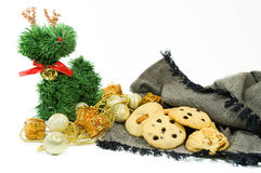 Christmas cookies. Chocolate chip and cashew nut cookie for Christmas holidy Stock Image