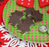 Christmas Cookies with chocolate Royalty Free Stock Images