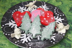 Christmas Cookies with chocolate Royalty Free Stock Photos