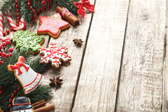 Christmas cookies. On a brown wooden table royalty free stock photo