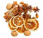 Christmas cookies, cinnamon, anise stars, nuts Stock Image