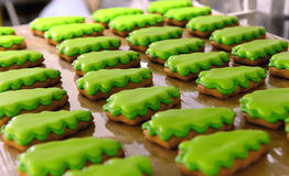 Christmas cookies. Christmas cinnamon cookies icing decorating process Stock Image