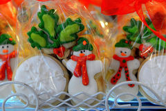 Christmas cookies. Christmas cinnamon cookies icing decorating process Royalty Free Stock Photography