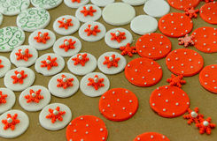 Christmas cookies. Christmas cinnamon cookies icing decorating process Stock Photo