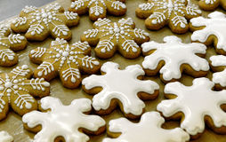 Christmas cookies. Christmas cinnamon cookies icing decorating process Royalty Free Stock Image