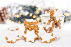 Christmas cookies cinnamon stars baking bakery snow winter stock image