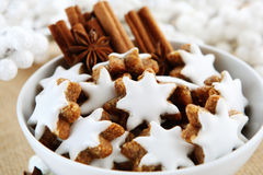 Christmas cookies. With cinnamon sticks and frosting Royalty Free Stock Photography