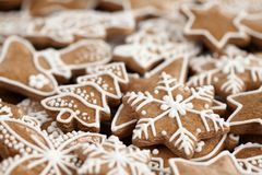 Christmas cookies. Close-up of Christmas gingerbread cookies royalty free stock photo