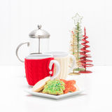 Christmas Cookies and Coffee Stock Images
