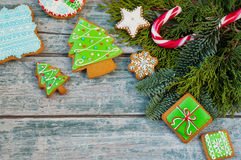 Christmas cookies. Colorful mix of ginger cookies on a blue wood background Royalty Free Stock Photo